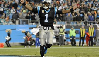 FILE - In this Nov. 13, 2017, file photo, Carolina Panthers' Cam Newton (1) fires up the fans after a Panthers touchdown against the Miami Dolphins in the second half of an NFL football game in Charlotte, N.C. The Panthers enter the bye weekend having won three straight, leaving them at 7-3 and a half-game behind the New Orleans Saints in the NFC South. (AP Photo/Mike McCarn, File)