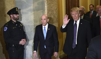 President Donald Trump arrives on Capitol Hill in Washington, Thursday, Nov. 16, 2017. Trump arrived at the Capitol for a pep rally with House Republicans, shortly before the chamber was expected to approve the tax bill over solid Democratic opposition. (AP Photo/Susan Walsh)