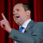 FILE - In a Saturday, April 22, 2017 file photo, Republican gubernatorial candidate Corey Stewart, speaks during a Tea Party debate at Goochland High School in Goochland, Va.  Stewart, an outspoken supporter of President Donald Trump who narrowly lost a bid to be Virginia's GOP candidate for governor is now running for the U.S. Senate. Stewart announced his Senate candidacy Thursday, July 13, 2017. (AP Photo/Steve Helber, File)