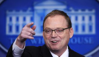 Kevin Hassett, chair of the Council of Economic Advisers talks to reporters during a press briefing in the Brady press briefing room at the White House, in Washington, Friday, Nov. 17, 2017. (AP Photo/Manuel Balce Ceneta)