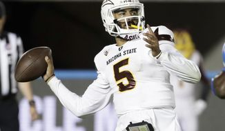 Arizona State quarterback Manny Wilkins passes against UCLA during the second half of an NCAA college football game in Pasadena, Calif., Saturday, Nov. 11, 2017. UCLA won 44-37. (AP Photo/Chris Carlson)