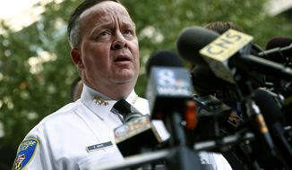Baltimore Police Department Commissioner Kevin Davis speaks at a news conference outside the R Adams Cowley Shock Trauma Center in Baltimore, Thursday, Nov. 16, 2017, to announce the death of Det. Sean Suiter. Suiter was shot in the head Wednesday while working in a troubled area of the city grappling with high crime rates. (AP Photo/Patrick Semansky) ** FILE **
