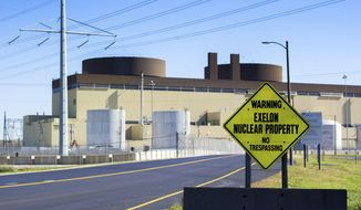 This Oct. 17, 2017 photo shows the Braidwood Nuclear Generating Station in Braceville, Ill. Radioactive waste continues to pour from Exelon's Illinois nuclear power plants more than a decade after discovery of chronic leaks led to national outrage, a $1.2 million government settlement and a company vow to guard against future accidents, according to federal and state record reviewed by Better Government Association. (Madison Hopkins/Better Government Association via AP)