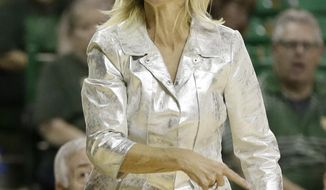 Baylor coach Kim Mulkey shouts to her team during the second half of an NCAA college basketball game against Central Arkansas on Tuesday, Nov. 14, 2017, in Waco, Texas. (AP Photo/Tony Gutierrez)
