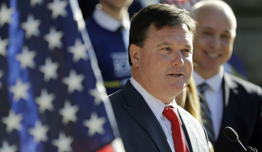 In this Aug. 9, 2017, file photo, Rep. Todd Rokita, R-Ind., speaks during a news conference outside of the Indiana Statehouse in Indianapolis. (AP Photo/Darron Cummings, File)
