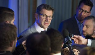 Montreal Canadiens general manager Marc Bergevin speaks to reporters following a meeting of NHL general managers in Montreal, Friday, Nov. 17, 2017. (Graham Hughes/The Canadian Press via AP)