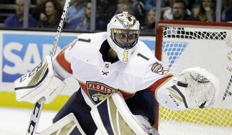 Florida Panthers goalie Roberto Luongo stops a shot by the San Jose Sharks during the third period of an NHL hockey game Thursday, Nov. 16, 2017, in San Jose, Calif. (AP Photo/Marcio Jose Sanchez)