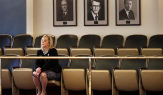 Oklahoma Governor Mary Fallin watches from the gallery as the senate considers legislation before adjourning from a special session on Friday, Nov. 17, 2017 in Oklahoma City, Okla.  (Steve Sisney/The Oklahoman via AP)