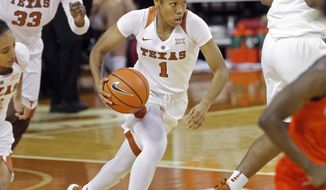Texas guard Alecia Sutton dribbles the ball during the first half of an NCAA college basketball game against UTSA, Friday, Nov. 17, 2017, in Austin, Texas. (AP Photo/Michael Thomas)