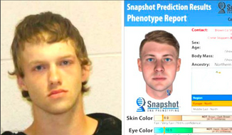 Image provided by the Brown County [Texas] Sheriff's Office via San Antonio Live. The suspect, Ryan Riggs, shown at left, confessed to an unsolved 2016 murder. The sketch at right was created by software that analyzed DNA found at the scene belonging to the perpetrator.