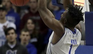 Seton Hall forward Michael Nzei (1) dunks on against NJIT during the first half of an NCAA college basketball game, Saturday, Nov. 18, 2017, in Newark, N.J. (AP Photo/Julio Cortez)