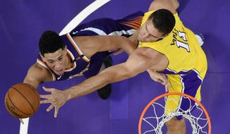 Phoenix Suns guard Devin Booker, left, shoots as Los Angeles Lakers center Brook Lopez defends during the first half of an NBA basketball game, Friday, Nov. 17, 2017, in Los Angeles. (AP Photo/Mark J. Terrill)