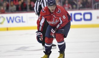 Washington Capitals left wing Alex Ovechkin (8), of Russia, leaves the ice after he was injured during the second period of an NHL hockey game against the Minnesota Wild, Saturday, Nov. 18, 2017, in Washington. (AP Photo/Nick Wass)