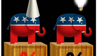 Illustration on new GOP wisdom on taxes by Alexander Hunter/The Washington Times