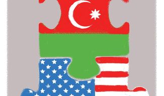 Illustration on U.S./Azerbaijan cooperation by Linas Garsys/The Washington Times