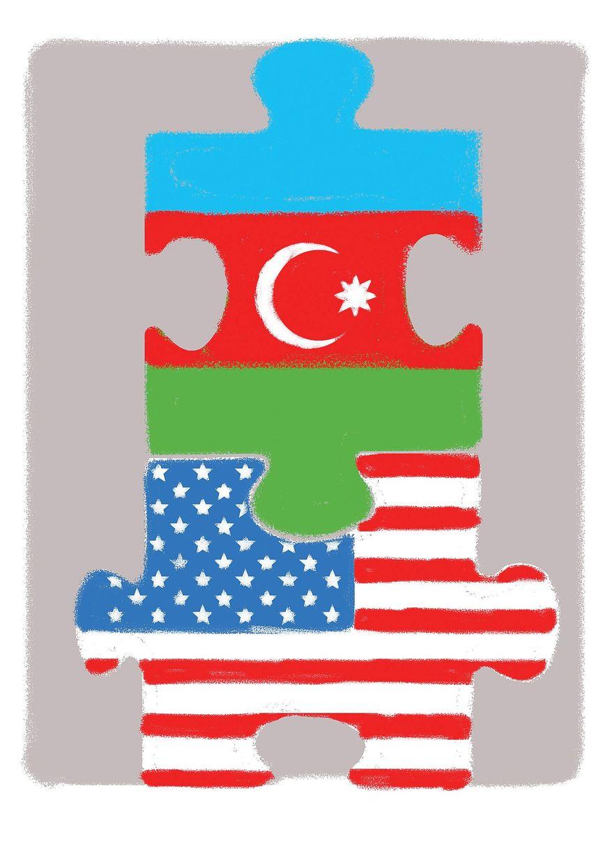 Illustration on U.S./Azerbaijan cooperation by Linas Garsys/The Washington Times