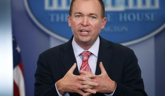 Budget Director Mick Mulvaney gestures as he speaks during the daily press briefing at the White House in Washington on July 20, 2017. (Associated Press) **FILE**