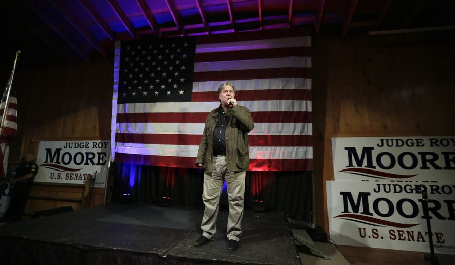 FILE - In this Monday, Sept. 25, 2017 file photo, former White House strategist Steve Bannon speaks at a rally for U.S. Senate hopeful Roy Moore in Fairhope, Ala. (AP Photo/Brynn Anderson)