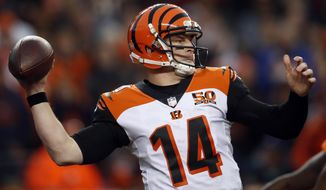 Cincinnati Bengals quarterback Andy Dalton (14) throws against the Denver Broncos during the second half of an NFL football game, Sunday, Nov. 19, 2017, in Denver. (AP Photo/David Zalubowski)