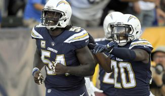 Los Angeles Chargers outside linebacker Melvin Ingram, left, celebrates with defensive back Desmond King after scoring against the Buffalo Bills during the second half of an NFL football game, Sunday, Nov. 19, 2017, in Carson, Calif. (AP Photo/Mark J. Terrill)
