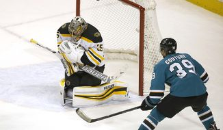 Boston Bruins goalie Anton Khudobin (35) blocks a goal attempt by San Jose Sharks center Logan Couture (39) during the third period of an NHL hockey game Saturday, Nov. 18, 2017, in San Jose, Calif. Boston won 3-1. (AP Photo/Tony Avelar)