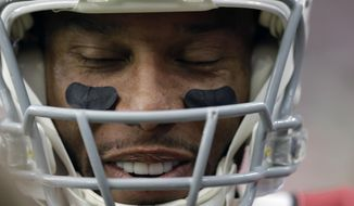 Arizona Cardinals wide receiver Larry Fitzgerald (11) smiles on the sidelines during the first half of an NFL football game against the Houston Texans, Sunday, Nov. 19, 2017, in Houston. (AP Photo/David J. Phillip)