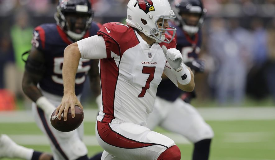 Arizona Cardinals quarterback Blaine Gabbert (7) scrambles against the Houston Texans during the first half of an NFL football game, Sunday, Nov. 19, 2017, in Houston. (AP Photo/David J. Phillip)