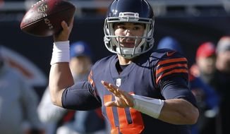 Chicago Bears quarterback Mitchell Trubisky (10) throws a pass during the first half of an NFL football game against the Detroit Lions, Sunday, Nov. 19, 2017, in Chicago. (AP Photo/Charles Rex Arbogast)