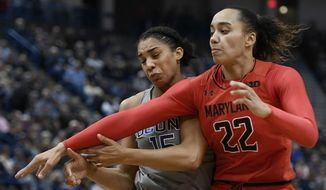 Connecticut's Gabby Williams, left, and Maryland's Blair Watson collide during the first half an NCAA college basketball game, Sunday, Nov. 19, 2017, in Hartford, Conn. (AP Photo/Jessica Hill)