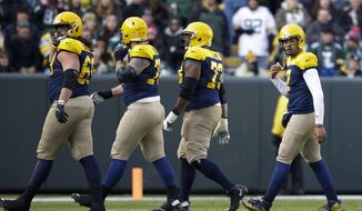 Green Bay Packers' Brett Hundley walks off the field during the second half of an NFL football game against the Baltimore Ravens Sunday, Nov. 19, 2017, in Green Bay, Wis. (AP Photo/Jeffrey Phelps)