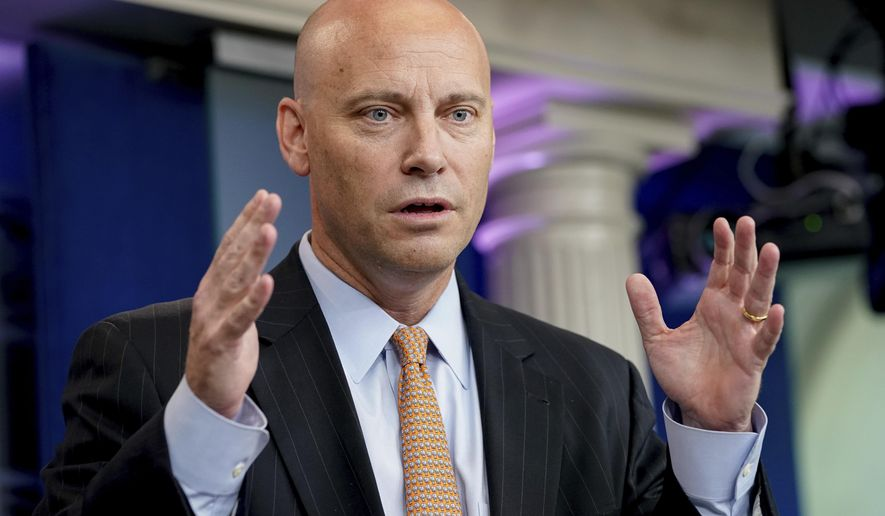 "White House Director of Legislative Affairs Marc Short talks to the media during the daily press briefing at the White House in Washington. Short says President Donald Trump isn't campaigning for Alabama Senate candidate Roy Moore due to ""discomfort"" with allegations of sexual misconduct involving the former judge. (AP Photo/Andrew Harnik, File)"