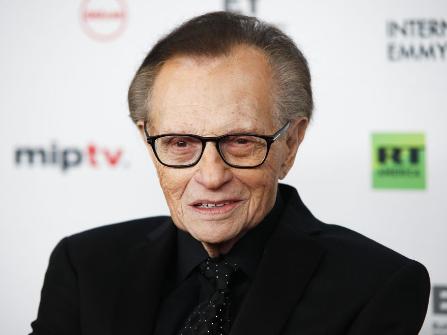 Larry King attends the 45th International Emmy Awards at the New York Hilton on Monday, Nov. 20, 2017, in New York. (Photo by Andy Kropa/Invision/AP) ** FILE **