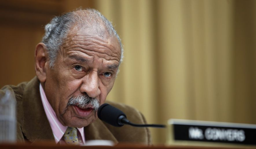 Rep. John Conyers, D-Mich., speaks during a hearing of the House Judiciary subcommittee on Capitol Hill in Washington. Buzzfeed, a news website, is reporting that Conyers settled a complaint in 2015 from a woman who alleged she was fired from his Washington staff because she rejected his sexual advances. Calls to Conyers and his office seeking comment were not immediately returned Monday, Nov. 20. (AP Photo/Alex Brandon, File)
