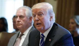 Secretary of State Rex Tillerson listens as President Donald Trump announces that the United States will designate North Korea a state sponsor of terrorism during a cabinet meeting at the White House, Monday, Nov. 20, 2017, in Washington. (AP Photo/Evan Vucci) **FILE**