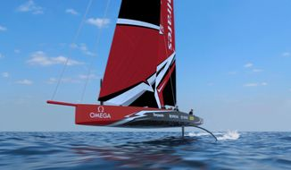 This undated concept drawing shows a radical fully foiling monohull, the AC75, for the 2021 America's Cup, created by Emirates Team New Zealand. The 75-foot boat, designed in conjunction with Challenger of Record Luna Rossa of Italy, will use twin canting T-foils to lift the hull completely out of the water in order to increase speed. The AC75 will replace the foiling catamarans used in the last two editions of sailing's marquee regatta. (Emirates Team New Zealand/Virtual Eye via AP)