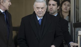 Jose Maria Marin leaves federal court in the Brooklyn borough of New York, Friday, Nov. 17, 2017. Marin, of Brazil, is one of three former South American soccer officials on trial in a U.S. case highlighting widespread corruption in the sport's governing body. (AP Photo/Mary Altaffer)