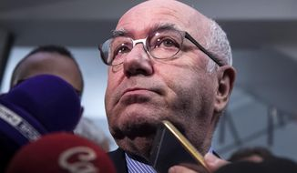 Carlo Tavecchio, President of the Italian Soccer Federation (FIGC), meets reporters following a summit in Rome, Wednesday, Nov. 15, 2017. Italy coach Gian Piero Ventura was fired Wednesday, two days after the Azzurri's failure to qualify for the World Cup. Meanwhile, the refusal of football federation president Carlo Tavecchio to resign was met with protest at a summit called to assess the failure. (Angelo Carconi/ANSA via AP)