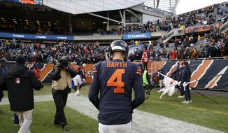 Chicago Bears kicker Connor Barth (4) looks down as he walks off the field after an NFL football game against the Detroit Lions, Sunday, Nov. 19, 2017, in Chicago. The Lions won 27-24. (AP Photo/Nam Y. Huh)