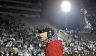 Nebraska head football coach Mike Riley watches from the sidelines during the final seconds of an NCAA college football game against Penn State, Saturday, Nov. 18, 2017, in State College, Pa. (Chris Dunn/York Daily Record via AP)