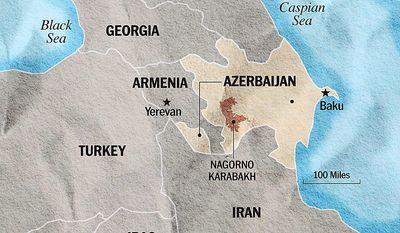Map of Armenia, Azerbaijan, Nagorno Karabakh