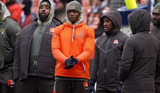 FILE - In this Nov. 19, 2017, file photo, Cleveland Browns' Josh Gordon, center, watches before an NFL football game between the Jacksonville Jaguars and the Browns in Cleveland. On Wednesday, Nov. 22, the talented wide receiver, who has squandered millions of dollars and derailed a promising career because of substance abuse, will practice with the Browns for the first time in 14 months _ a return that once seemed unimaginable.(AP Photo/Ron Schwane, File)