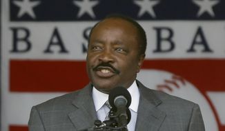 "FILE - In this July 28, 2013, file photo, Baseball Hall of Famer Joe Morgan speaks during ceremonies in Cooperstown, N.Y. Joe Morgan is urging voters to keep ""known steroid users"" out of Cooperstown. A day after the Hall revealed its 33-man ballot for the 2018 class, the 74-year-old Morgan argued against the inclusion of players implicated during baseball's steroid era in a letter to voters with the Baseball Writers' Association of America. The letter was sent Tuesday, Nov. 21, 2017, using a Hall email address. (AP Photo/Mike Groll, File) **FILE**"
