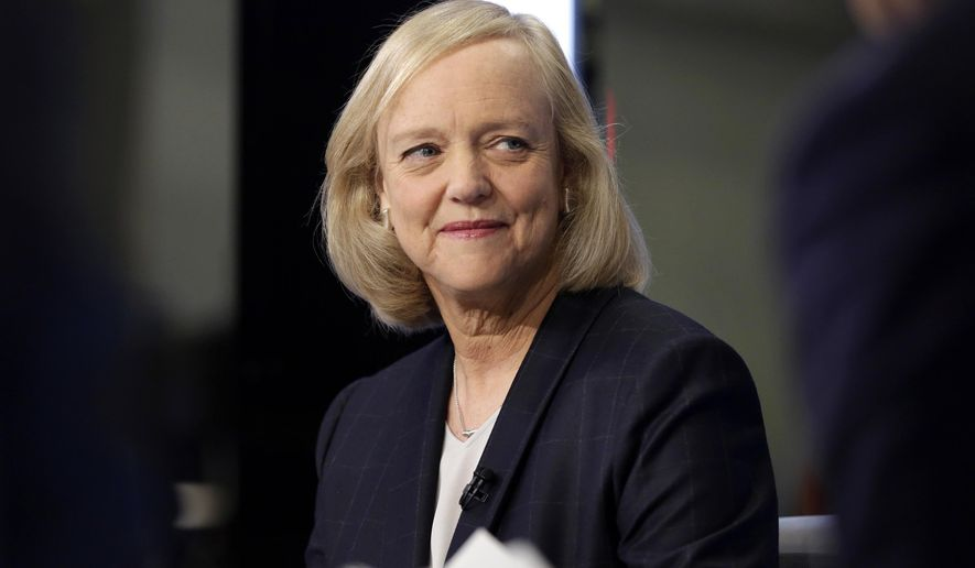 In this Nov. 2, 2015 photo, Hewlett Packard Enterprise President and CEO Meg Whitman is interviewed on the floor of the New York Stock Exchange. Whitman is stepping down as the CEO of Hewlett Packard Enterprise. She'll be replaced by Antonio Neri, the company's president. (AP Photo/Richard Drew)