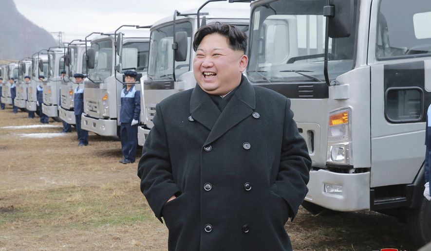 "In this undated photo provided on Tuesday, Nov. 21, 2017, by the North Korean government, North Korean leader Kim Jong-un visits the the Sungri Motor Complex in Pyeongannam-do, North Korea. The Trump administration is due to announce new sanctions on North Korea on Tuesday, Nov. 21, 2017, after declaring it a state sponsor of terrorism in the latest push to isolate the pariah nation. Independent journalists were not given access to cover the event depicted in this image distributed by the North Korean government. The content of this image is as provided and cannot be independently verified. Korean language watermark on image as provided by source reads: ""KCNA"" which is the abbreviation for Korean Central News Agency. (Korean Central News Agency/Korea News Service via AP)"