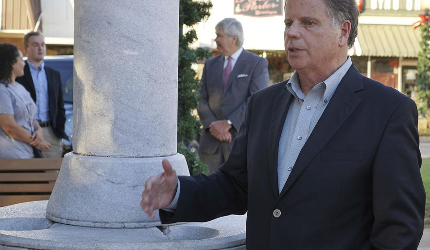 FILE - In this Nov. 17, 2017, file photo, Alabama Democratic Senate candidate Doug Jones speaks during a campaign stop in Troy, Ala. The words of prominent Republicans are being used against Alabama's GOP Senate nominee Roy Moore in a campaign ad. The ad by Jones features statements made by Attorney General Jeff Sessions, Sen. Richard Shelby and Ivanka Trump responding to allegations of sexual misconduct against Moore. (Aly Grice/Troy Messenger via AP, File)