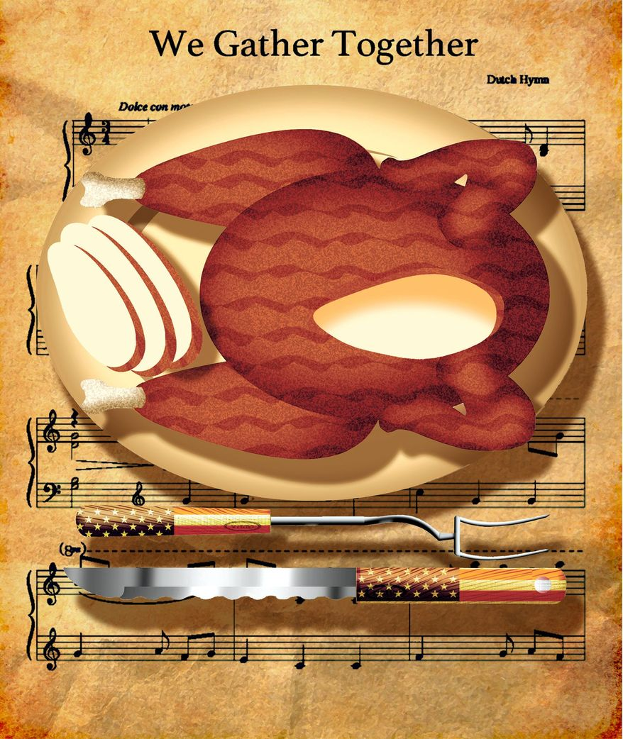 Illustration on Thanksgiving by Alexander Hunter/The Washington Times