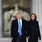 President-elect Donald Trump and incoming first lady Melania Trump arrive for a patriotic concert at the Lincoln Memorial, three days before he was inaugurated. (AP Photo/Evan Vucci) (Associated Press)