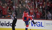 Washington Capitals left wing Jakub Vrana (13), of the Czech Republic, celebrates his goal during the first period of an NHL hockey game against the Ottawa Senators, Wednesday, Nov. 22, 2017, in Washington. (AP Photo/Nick Wass)