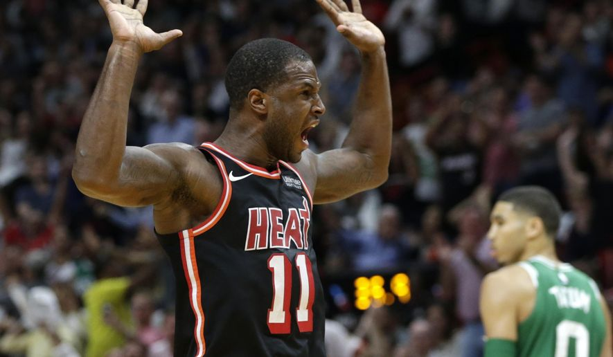 Miami Heat's Dion Waiters (11) reacts after scoring during the second half of an NBA basketball game against the Boston Celtics, Wednesday, Nov. 22, 2017, in Miami. The Heat won 104-98. (AP Photo/Lynne Sladky)