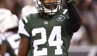 FILE-This Nov. 27, 2016, file photo shows New York Jets cornerback Darrelle Revis reacting after a defensive play against the New England Patriots during an NFL football game in East Rutherford, N.J. The Kansas City Chiefs needed help in their leaky defensive backfield. Revis was ready to provide it.So the AFC West leaders signed the seven-time Pro Bowl cornerback on Wednesday, Nov. 22, 2017,  a surprising mid-season move involving a big-name player.  (AP Photo/Julio Cortez, File)